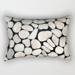 Light Stone Pattern Against Black Rectangular Pillow
