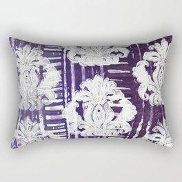 White Damask on Purple Rectangular Pillow