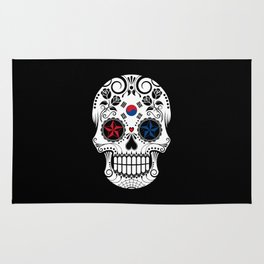 Sugar Skull with Roses and Flag of South Korea Rug