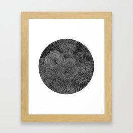 Circle Floral Line Drawing Framed Art Print