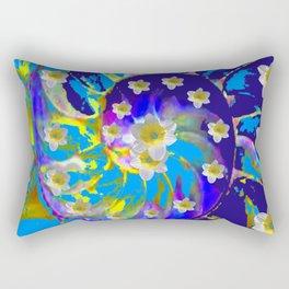 MODERN ART GARDEN BLUE SPIRAL &  DAFFODILS ART Rectangular Pillow