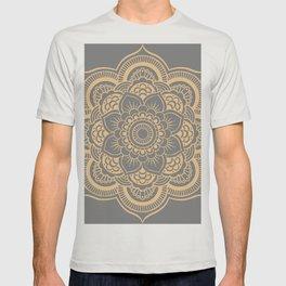 Mandala Flower Gray & Peach T-shirt