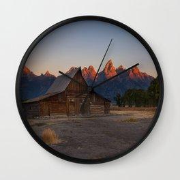 Moulton Barn - Sunrise in Grand Tetons Wall Clock