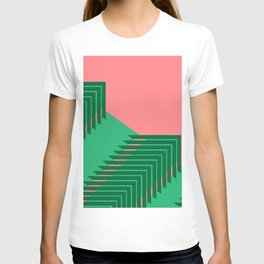 Line pattern, zigzagging with green and red T-shirt