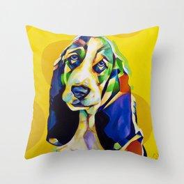 Pop Art Basset Hound Throw Pillow
