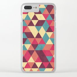 TRIANGLES RED Clear iPhone Case