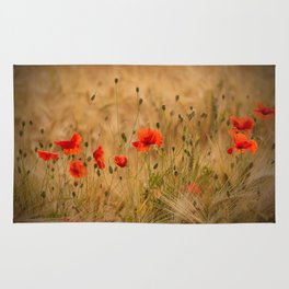 Golden cornfield with poppies Rug