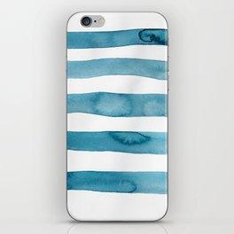 Aqua Stripes Abstract Modern Art iPhone Skin