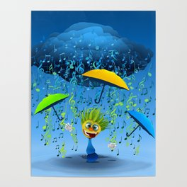 Crazy Beat singing in the rain Poster