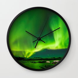 Northern Lights In Iceland Wall Clock