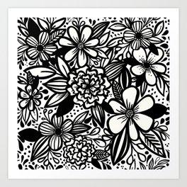 Inky Maximalist Florals Art Print