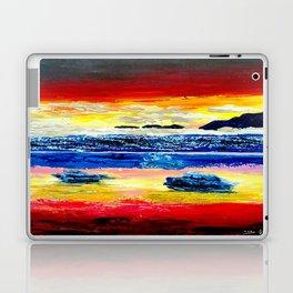 Twilight glow above dark mountains, Crimson Sea sunset around  small islets  of sirens Laptop & iPad Skin