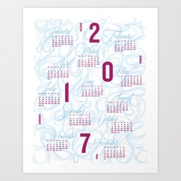 2017 Typographic and Lettering Calendar Art Print