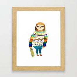 Hipster sloth skateboarder Framed Art Print