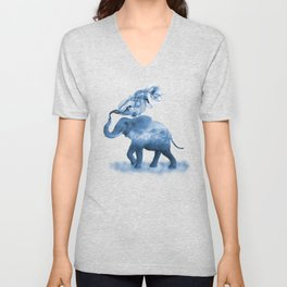 Blue Smoky Clouded Elephant Unisex V-Neck