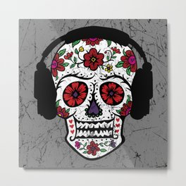 Sugar Skull with headphones Metal Print