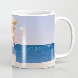 Fashion model at the beach Coffee Mug
