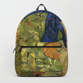 Young Woman in Wheat Field After Van Gogh Low Poly Geometric Art Backpack