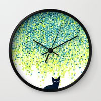 garden Wall Clocks featuring Cat in the garden under willow tree by Picomodi