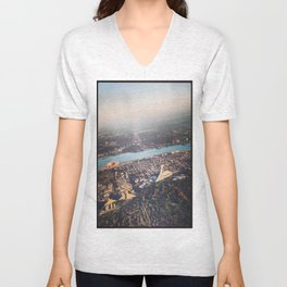 Flying over Montreal' stade Unisex V-Neck