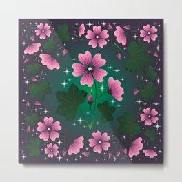Mallow Flower Pattern Metal Print
