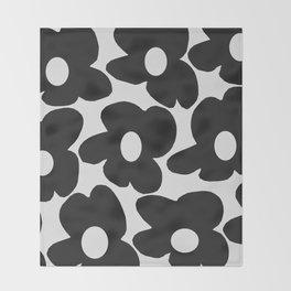 Black Retro Flowers White Background #decor #society6 #buyart Throw Blanket