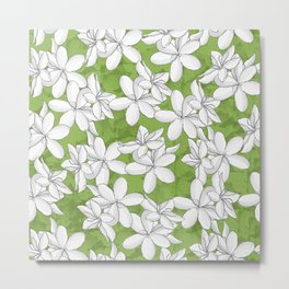 White flowers Greenery Metal Print