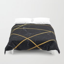 Black marble with gold lines Duvet Cover