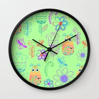owls Wall Clocks featuring Owls by luizavictoryaPatterns