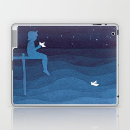 Boy with paper boats, blue Laptop & iPad Skin