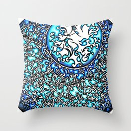 Blue Fire (2) Throw Pillow