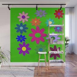 Flower Power - Green Background, Bright Colors, Fun Flower Power Desig Wall Mural