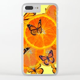 YELLOW DECORATIVE ORANGES & BUTTERFLIES Clear iPhone Case