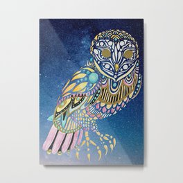 Galaxy Owl Illustration Metal Print