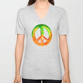 Green Orange Yellow Watercolor Tie Dye Peace Sign Unisex V-Neck