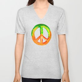 Green Orange Yellow Watercolor Tie Dye Peace Sign Unisex V-Neck