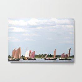 Summer sailing on Dutch Frisian lake Metal Print