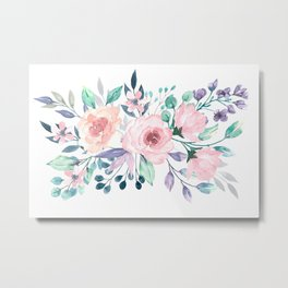 Pink and lilac flowers, watercolor hand painting Metal Print