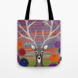 white tailed deer, owl, zinnias Tote Bag