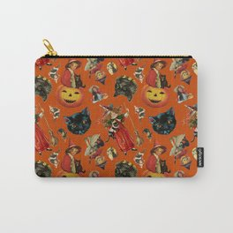 Vintage Black Cat Halloween Toss in Pumpkin Spice Carry-All Pouch