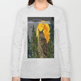 OWL WITH FULL MOON & PINE TREES GREY ART Long Sleeve T-shirt
