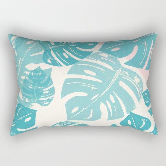Linocut Monstera Rosy Rectangular Pillow