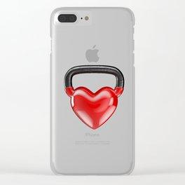 Kettlebell heart vinyl / 3D render of heavy heart shaped kettlebell Clear iPhone Case