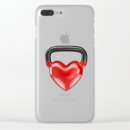 Kettlebell heart vinyl / 3D render of heavy heart shaped kettlebell Clear iPhone Case