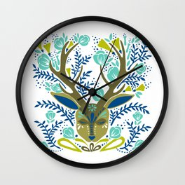 Floral Antlers – Earth Tones Palette Wall Clock