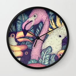 The Jungle Birds Wall Clock