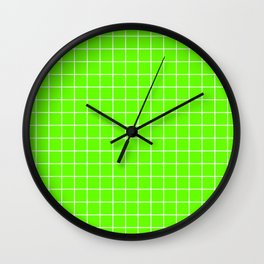 Bright green - green color -  White Lines Grid Pattern Wall Clock