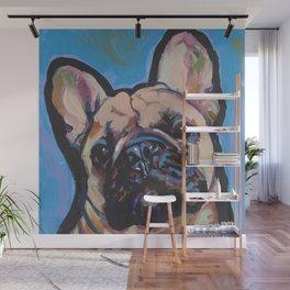 Fun French Bulldog Dog Portrait bright colorful Pop Art by LEA Wall Mural