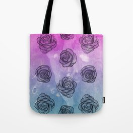 Pink & Blue Roses Tote Bag