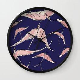 Flamingos in Flight on Navy Wall Clock